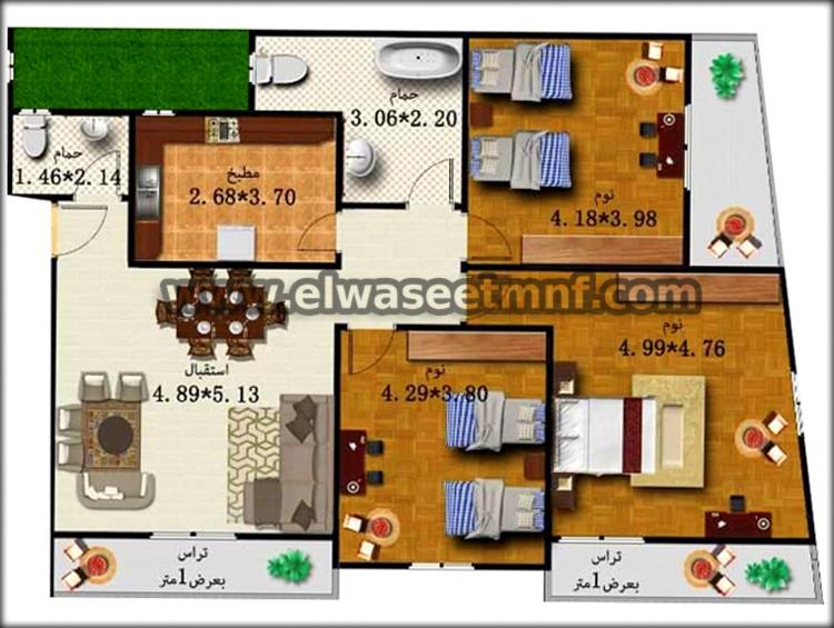 الشقة شقق تمليك ببرج جديد تحت الإنشاء بمساحة 164و 116 متر من الوسيط العقارية بشبين الكوم