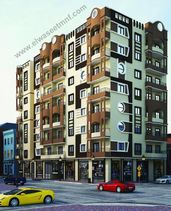 شقق تمليك للبيع ببرج جديد بالقرب من شارع عاطف السادات بمساحة  131 و 143 متر و قسط على 24 شهر من شركة الوسيط العقارية بشبين الكوم
