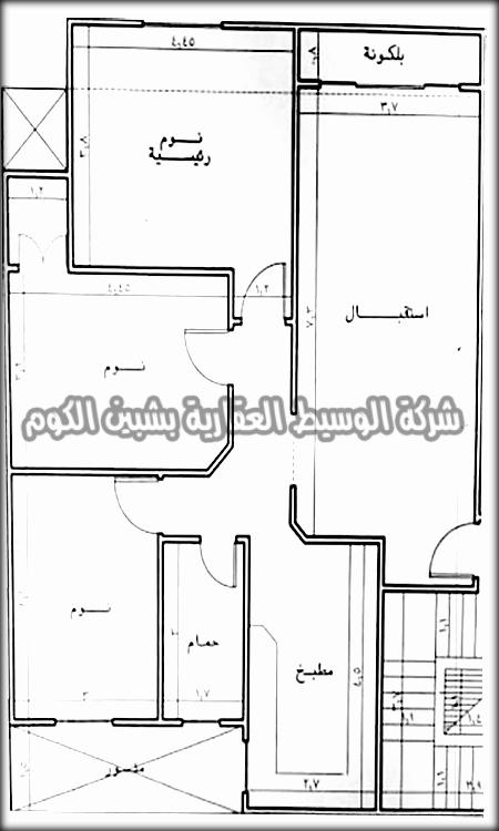 شقة تمليك للبيع بمساحة 120 متر بالدور التاني ببرج جديد خلف عاطف السادات ( ش باريس ) بالقرب من الدمشقى الجديد من الوسيط العقارية بشبين الكوم